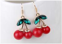 Wholesale Chandeliers Fruit - 2015 Frozen Cherry Dangle Earrings Lovely Red Fruit Ear Stud Crystal Rhinestone Fashion Charm Earrings 5pairs lot