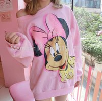 Wholesale Sweater Minnie - Wholesale-New Pink mickey Minnie mouse sweat shirts,women cartoon print ,cute autumn full Sleeve round Neck top Sweater