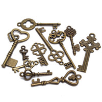 ingrosso tasti di scheletro-11pcs assortiti Vintage VTG Old Look Skeleton Keys bronzo Steampunk Pendenti ordine $ 18no traccia