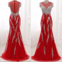 Luxus Sparkly Kristalle Prom Kleid Red Mermaid High Neck Sleeveless Prom Kleider Perlen Pailletten Illusion Zurück Spitze Tüll Abendkleider