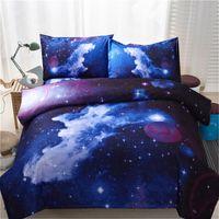 cama de espacio reina al por mayor-Textiles para el hogar Juegos de cama para la galaxia 3D Twin Queen Universe Outer Space 3pcs / 4pcs Ropa de cama Ropa de cama con funda de almohada Juego de funda nórdica