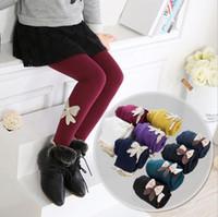 Wholesale Girls Jeans Leggings - Winter Warm Girls Leggings Fashion bow Kids Girls Jeans Pants Autumn Kids Children Pencil Pants Trousers