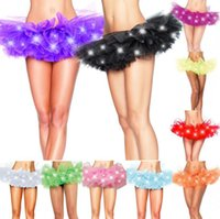 Wholesale Neon Halloween Costumes - LED Tutu Mini Skirt Neon Light Up Tutu Fancy Stage Dancing Halloween Costume Clubwear LED Skirts 11 Colors OOA3575