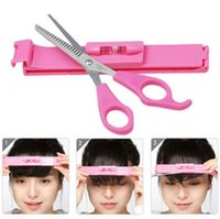 Wholesale Diy Bangs Tool - Professional Pink DIY Hair Cut Tools Lady Artifact Style Set Hair Cutting Pruning Scissors Bangs Layers Style Scissor Clipper CCA8348 100pcs