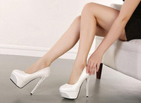 Wholesale Thin Men Dress Shoes - Sexy super high heel 14 cm high platform club for women's shoes With round head thin diamond single shoes White wedding shoe 201502