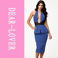 Maniche donne sexy abiti estivi donne Club Royal Blu con allacciatura al collo con scollo a V Backless Peplum Midi Dress LC6338 2014 vestidos FG1511