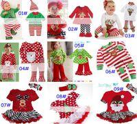 Wholesale Wholesale Girls Tshirt Dress - 2016 New baby christmas 2pc set girls reindeer tshirt tops dress & baby pants & infant ribbon headband & hat 9designs choose free ship melee