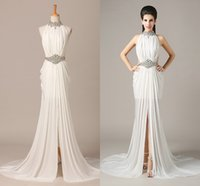 Wholesale 2015 In Stock Sheath Prom Dress High Neck Zipper Back Sweep Train Celebrity Party Dresses Crystal Beads Belt Pageant Dresses BM765