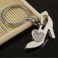 Wholesale Wholesale Trendy Heels - wholesale Ms high-heeled shoes key chain set auger key chain high-level creative gifts alloy key ring