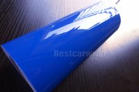 Wholesale car cover layer - 3 Layers - Dark Blue Gloss Vinyl wrap High Glossy For Car Wrap Film with air Bubble Free Truck vehicle wrap covering 1.52*20M Roll 4.98x66ft