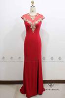 37fd322ebb7 HarveyBridal элегантный Золотой кружева Красный вечерние платья эластичный  сексуальная сторона щель Русалка спинки платья выпускного вечера длинные  реальная ...