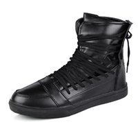 2017 High Tops Men Shoes Male Casual Shoes Blanco Rojo Negro Lace Up Student PU Botas de cuero Hook Loop Board Shoes