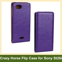 Wholesale Leather Cases For Xperia J - Wholesale Elegant Crazy Horse Pattern PU Leather Flip Cover Case for Sony Xperia J ST26i with Magnetic Snap Free Shipping