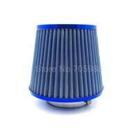 Wholesale universal intake hose - Universal quot mm BLUE Air Intake Filter Height High Flow Cone Cold Air Intake Performance intake hose Kit filtro de ar esportivo