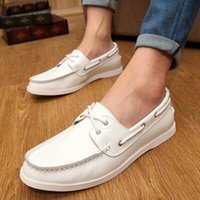 Wholesale Sailing Boat Shoes - Wholesale-2015 popular soft genuine leather casual flats boat shoes summer fashion breathable men sailing shoes