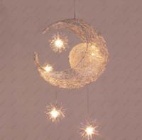 Wholesale Lighted Star Ceiling Kids - LED G4 light source, Moon & Star - modern Children Kid Child Bedroom novelty Pendant Lamp Chandelier Light Ceiling Aluminum