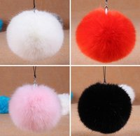 Wholesale 2016 Faux Rabbit Fur Fluffy Pom Pom Balls Mobile Chain Straps Handbag Chains Key Chains Colors mix