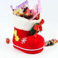 Wholesale Mini Short Boots - 12pcs lot Mini 9*6*10cm Santa Boot Style Candy Bags Fairy Flocking Shoes Gifts Holders Christmas Festival Favors HX438