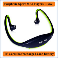 Wholesale Headphones Built Radio - 2016 Fashion Earphone outdoor Sports MP3 Music Players Headset Headphone support TF Card built-in Li-ion battery MP3 player R-862