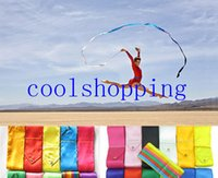 Wholesale Ribbon Batons - DHL Freeshipping mix color 4M Gym Dance Ribbon Rhythmic Art Gymnastic Streamer Baton Twirling Rod
