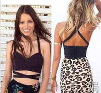 Wholesale Corset Tops For Cheap - Sexy Womens Cut-out Bustiers corsets Bralette Bralet Crop Top tanks Vest Blouse Tank Black and white colors bandage tanks for girls cheap