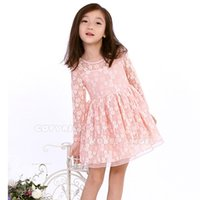 Wholesale Petals Dhl - Free DHL 2015 Fashion Toddler Girls Lace Dress Girl Knee-Length Long Sleeve Dress Floral Princess Dress