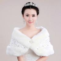 Wholesale half sleeve fur jackets - Hot Crystal Ivory Bridal Jacket Faux Fur Fashionable Elegant Wedding Bridal Jackets Half Sleeve Real Image 2015 Free Shipping