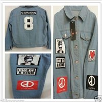 Wholesale Gd Bigbang - Wholesale-G-Dragon Shirt Bigbang GD TextileCoup Shirts Denim Jeans GD Coat Jacket Coup D'etat