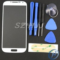Wholesale Stickers S4 Glass - Outer Screen Glass Lens For Samsung Galaxy S4 i9500 i337 i545 Front Touch Screen Glass Cover Replacement with Opening Tools and 3M Sticker