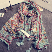 National Wind Thin Section Moda Soft Cotton Color Cashew Tassels Travel Holiday Sun Designer Scarf Shawl Spring / Autumn Female