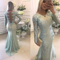 Wholesale Strapless Navy Blue Gowns - 2018 New Long Sleeves Lace Mermaid Evening Dresses Illusion Applique Beaded Floor Length Party Prom Gowns With Buttons