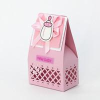 itens de doces venda por atacado-48 pçs / lote Criativo Saco de Doces New Baby Shower Azul Fontes Do Partido Do Casamento Itens Decoração de Aniversário Presente Caixa de Favores Para Os Convidados