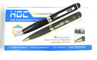Wholesale Covert Audio - Professional 720P HD Pen camera audio video recorder motion detection Spy pen covert video recorder mini camcorder silver golden