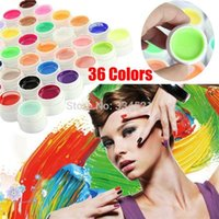 Wholesale Uv Nails Cover Gel - Professional 36colors set Nail Gel Pure Colors Decor UV Gel Nail Art Tips Shiny Cover Extension Manicure Civi Nail Gel Polish