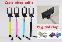 selfie stick для заметки оптовых-Аудио кабель проводной Selfie Stick выдвижная ручной пульт дистанционного спуска затвора монопод для iPhone 6 IOS Android Galaxy note 3 4 S4 5 с розничной коробке US09