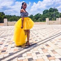 vestido de tutú amarillo para adultos al por mayor-2016 Primavera Amarillo Barato Alto Bajo Faldas Para Adultos Tul Tutu Capas Con Gradas Faldas de Busto de Cintura Alta Mujeres Elegantes Vestidos de Cóctel de Fiesta Larga