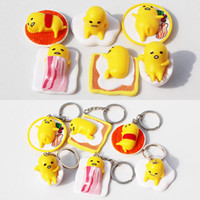 Finished Goods Roles Gudetama Anime Gudetama PVC toy Cut Adora Doll Yellow Lazy Kawaii keychain Action figure 4cm Free shipping