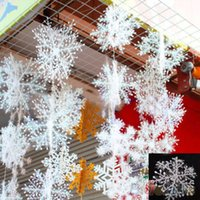 Wholesale White Snowflake Tree Ornaments - 30Pcs 10.8cm Merry Christmas Tree Hanging White Snowflake Ornaments Decoration Christmas Holiday Party Home Decor
