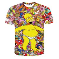 Wholesale Simpson Flash - Newest men's women's fashion cartoon t shirt casual tee funny 3d tshirt babt drunk the simpson print t shirts summer loose tops