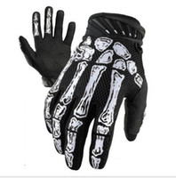 Wholesale Skeleton Full Finger Gloves - Tactical Airsoft Ghost claw Full Finger White Skeletons Motorcycle bicycle Wearable Microfiber antiskid Skull Gloves for Racing Cycling