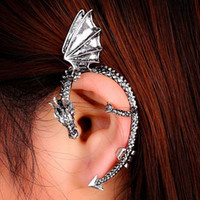 Wholesale Twining Earring - Gothic Punk Rock metal Twine dragon earrings without piercing Stud Wrap Fly Dragon Ear Cuff Clip Earring european fashion order<$18no track