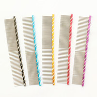 Wholesale Stainless Steel Cat Combs - Armi store Pet Dog Comb 62003 Bright Multi-Colored Stripes Grooming Comb For Shaggy Cat Dogs Barber Grooming Tools Salon 5 Color