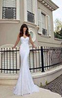Wholesale Custom Design Waist Sashes - Design Fashion Lace Mermaid Wedding Dresses With Silk Sash Sweetheart Chapel Train Vintage Bridal Gowns No Sleeve Empire Waist Vestidos