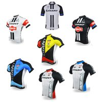 Wholesale Women Bike Clothing - 2017 new GIANT men\'s cycling short sleeve jerseys riding bike shirts Summer breathable bicycle wear cycling clothing ropa ciclismo E2602