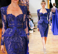 вечернее платье из кружевного шнурка оптовых-2017 королевских синих платьев для матери невесты с длинным рукавом кружева милая длиной до колен оболочка вечерние платья вечернее платье матери