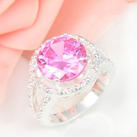 Wholesale Pink Kunzite Rings - 2015 Wedding Rings 2pcs lot Wholesale Holiday Jewelry Gift Party Classic Round Pink Kunzite Gemstone 925 Sterling Silver Ring Usa Size 7 8 9
