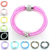 Wholesale Wholesale Mesh Beads - Fashion Newly Charms Bracelets Crystal Mesh Magnetic Clasp Multilayer Infinity Rhinestone Beads Bracelets Bangles Jewelry SLA0042