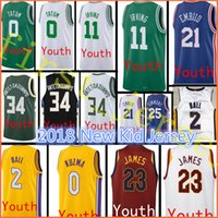 Wholesale 11 Ball - 2017-2018 New Youth #2 Lonzo Ball 0 Kyle Kuzma jersey Kid 34 Giannis Antetokounmpo 11 Kyrie Irving 0 Jayson Tatum stitched jersey