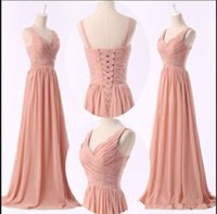 Wholesale Lower Price Bridesmaid Dresses - The new 2016 length of euramerican style neat chiffon pink meat v-neck bridesmaid dresses homecoming party dresses High quality low price dr