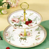 Gros-2015 New Gold Arrivée de luxe de stands Bone China céramique 2 Tier Afternoon Tea Fruit and Cake stands Plaques pastorale Motif floral